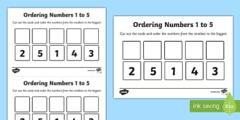 Ordering Numbers to 5 Activity Sheet - place value, EYFS place value, EYFS ordering, sequencing numbers