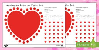 Herzförmiges Rollen und Zahlen Brettspiel -  Valentinstag,Zahlen, 1./2.Klasse, Spiele und Aktivitäten,Vorschule und Kindergarten, Herzförmiges