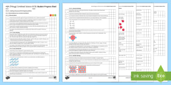 AQA (Trilogy) Unit 5.2 Bonding, Structure and the Properties of Matter Student Progress Sheet