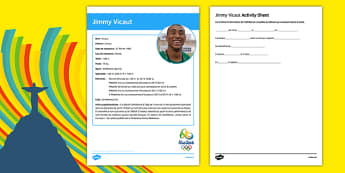 French Olympic Athletes Jimmy Vicaut Gap Fill Activity Sheet, worksheet