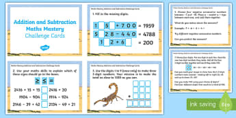 Maths Mastery Addition and Subtraction Challenge Cards - maths mastery, maths, mathematics, mastery, challenge cards, challenge, year 4, addition and subtraction