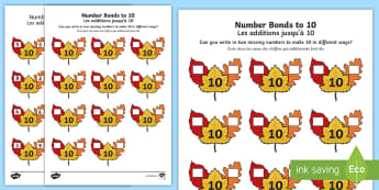 Autumn Leaf Number bonds to 10 Activity Sheet English/French - numeracy, number, addition, number bonds, addition pairs, maths, year 1, y1, autumn , worksheet, act