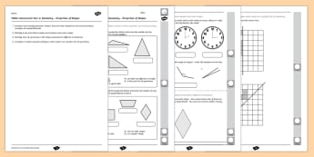 Year 4 Maths Assessment Geometry - Properties of Shapes Term 1 - shape