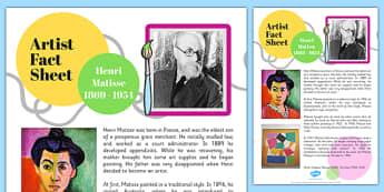 Artist Fact Sheet Henri Matisse - artist, fact, henri, matisse