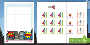 Three in a Row Superhero Activity - Australia, EYLF, Foundation, Game, Numeracy, Problem Solving, Counting, superhero
