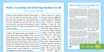 EYFS Maths: Counting and Ordering Numbers to 20 Home Learning Challenges - EYFS, Number, ELG, mathematics, early years, EYFS Planning, homework, home learning, parents, carers