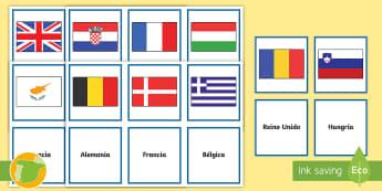 Tarjetas de emparejar: Las banderas de Europa - Unión Europea, europeo, europea, países, banderas, Europa, emparejar, juego, actividad, tarjetas,