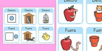 Outside Inside Locational Preposiciones Spanish - spanish, positional language