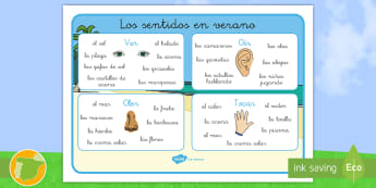Tapiz de vocabulario: Los sentidos en verano - verano, vacaciones, summer, holidays, sol, sun, playa, beach, borde, border, border, borders, tapir,
