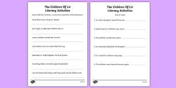 The Children of Lir Literacy Activities Sheet - Irish history, Irish story, Irish myth, Irish legends, The Children Of Lir, literacy, english