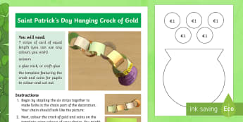 Saint Patrick's Day Hanging Crock of Gold Craft Instructions - Saint Patrick's Day, St. Patrick, craft, paper craft, crock of gold, leprechaun, instructions, phot