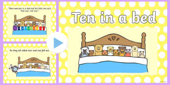 Ten in a Bed Counting PowerPoint - Ten In A Bed Powerpoint - powerpoints, bears, rhyme, rhymes ,rhymin,  pp, ppt, counting, subtracting
