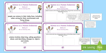 Year 1 Science as a Human Endeavour Display Posters - Science, Australian Curriculum, science understandings, grade 1, year one, WALT, learning outcomes,