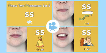 Phase Two Phonemes: Set 5: 'ss' Video - Phonics, Letters and Sounds, Grapheme, pronunciation, b,f,ff,h,l,ll,ss, digraph, double