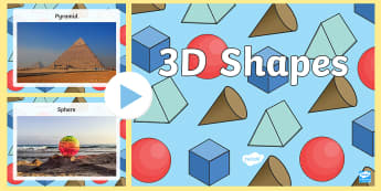 Holiday-Themed 3D Shapes PowerPoint - cube, sphere, cone, pyramid, cuboid, prism,