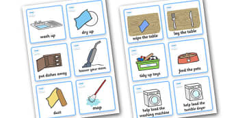 SEN Communication Cards Household Chores (Boy) - communication cards, chores, education, home school, child development, children activities, free