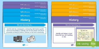 Year 2 Australian Curriculum History Content Descriptors Display Pack - Australian HASS Content Descriptor Statements, inquiry skills, knowledge and understanding, Year 2,