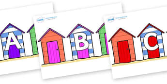 A-Z Alphabet on Beach Huts - A-Z, A4, display, Alphabet frieze, Display letters, Letter posters, A-Z letters, Alphabet flashcards