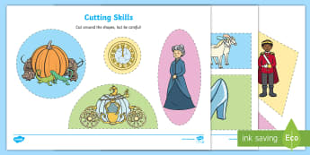 Cinderella Cutting Skills Worksheet - traditional tale, cutting