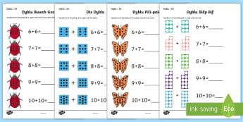 Taflenni Gwaith Dyblu - dyblu, dwbl, adio, addition, total, cyfanswm, buwch goch gota, ladybird, dice, dis, siap rif, number