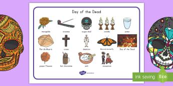 Day of the Dead Word Mat - dia de los muertos, day of the dead word mat, dia de los muertos word mat, word mat, day of the dead