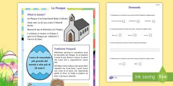 La Pasqua Lettura Differenziata Lettura Comprensiva - lwttura, leggere, comprensiva, differenziata, italiano, pasqua, pasquale, tradizioni, leggere, itali