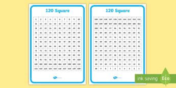 1-120 Number Square Backwards and Forwards - number, square