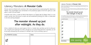 Literary Monsters: Activity Sheet to Support Teaching on 'A Monster Calls' by Patrick Ness - monster, Halloween, Patrick Ness, Siobhan O'Dowd, creative writing, spook, ghoul,