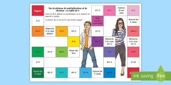 Jeu de plateau : Multiplications et divisions - La table de 2 - Mathématiques, maths, multiplications, divisions, table de 2, 2× table, calculs, nombres, cycle 2,