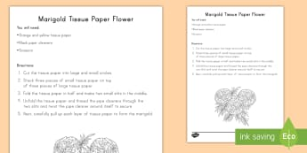 Marigold Tissue Paper Flower Craft Instructions - day of the dead, dia de los muertos, craft instructions, marigold craft, day of the dead craft, dia