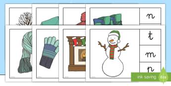 Juego de buscar el primer sonido: El invierno - lecto, leer, lectura, primeras letras, invierno, invernal, Spanish