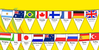 Rio Olympics 2016 Country Flags Bunting Polish Translation - polish, rio olympics, 2016 olympics, country, flags, bunting, display