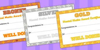 Mental Maths Certificates - mental maths, certificates, maths