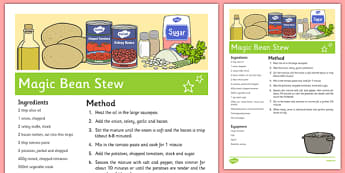 Magic Bean Stew Recipe - Jack and the Beanstalk, Jaspers Beanstalk, cooking, EYFS