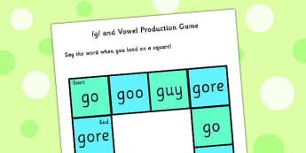 g and Vowel Production Game - g sound, vowels, vowel game, games