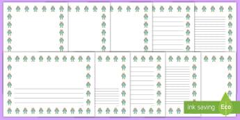 Alien Portrait Page Borders- Portrait Page Borders - Page border, border, writing template, writing aid, writing frame, a4 border, template, templates, landscape
