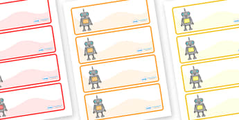 Editable Drawer - Peg - Name Labels (Robots) - Classroom Label Templates, robot, robots, Resource Labels, Name Labels, Editable Labels, Drawer Labels, Coat Peg Labels, Peg Label, KS1 Labels, Foundation Labels, Foundation Stage Labels, Teaching Labels