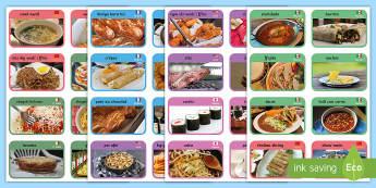 Cardiau Bwyd o Amgylch y Byd - sbageti, spaghetti, pitsa, pizza, rice, reis, noodles, nwdlys,Welsh