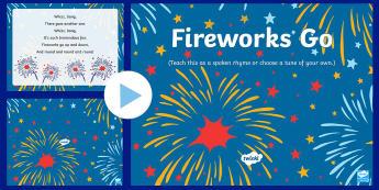 Fireworks Go! Rhyme PowerPoint - EYFS, Early Years, Key Stage 1, KS1, bonfire night, fireworks night, rocket, sparkler, Guy Fawkes, c