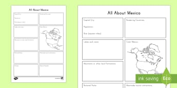 All About Mexico Activity Sheet - Cinco de Mayo worksheet, Mexico Facts, Geography, Research, Internet Research Skills, All About Mexico