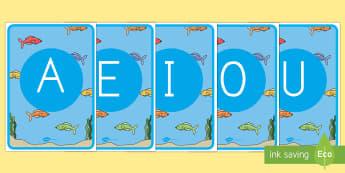 Tarjetas de fonemas: Vocales - El pez arcoiris - Bajo el mar, proyecto, lectura, leer, lecto, lecto-escritura,Spanish