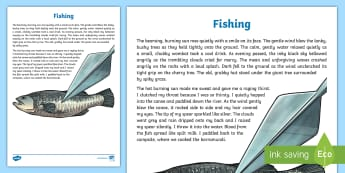 Fishing Literary Description Writing Sample - Literacy, Fishing Literary Description  Writing Sample, year 3. year 4, descriptions, text types, ty