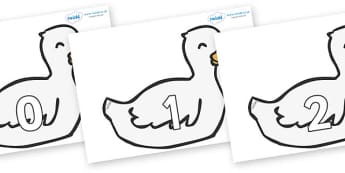 Numbers 0-50 on Mother Duck - 0-50, foundation stage numeracy, Number recognition, Number flashcards, counting, number frieze, Display numbers, number posters