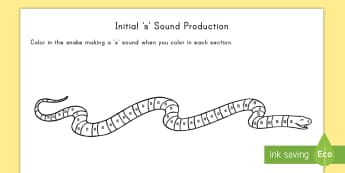s Sound Production Snake Themed Coloring Activity Sheet - s, sound production, snake, pronunciation, alphabet, worksheet