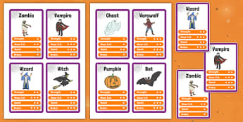 Halloween Character Card Game - halloween, top trump, cards, halloween activities, halloween games, playing cards, games, activities, classroom games