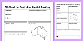All About the Australian Capital Territory Research Activity Sheet - australia, Geography, research, questions, questioning, answers, Australian Capital Territory, Canberra, facts, states, territories, Australia, worksheet