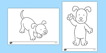 Dog Themed Colouring Sheets to Support Teaching on The Blue Balloon - kipper, kipper the dog, kippers birthday, colouring