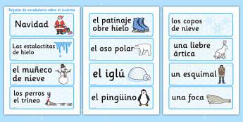 Winter Topic Word Cards Spanish - spanish, winter, topic, word cards, word, card