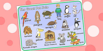 Word Mat to Support Teaching on The Great Pet Sale - pets, animals, visual aids, words