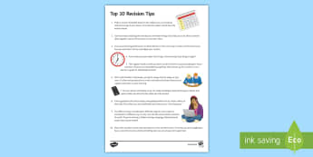 10 Top Tips for Revision Pupil Guide - Secondary - 15 Minute Revision Activities, tips, guide, pupil